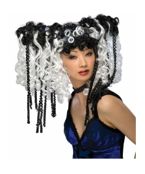 Black And White Curly Locks Adult Wig