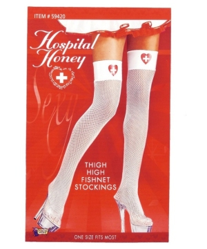 Hospital Honey Nurse Fishnet Thigh High Tights