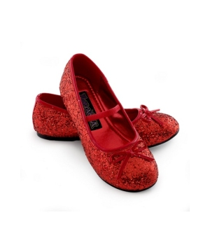 Red Sparkle Ballerina Kids Shoes