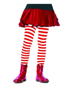 Red And White Striped Kids Tights