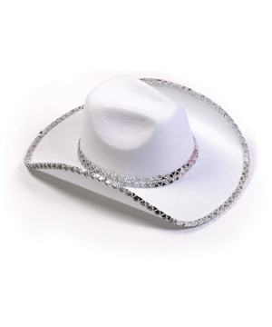 White Sequin Cowboy Adult Hat