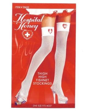 Hospital Honey Nurse Fishnet Thigh High Tights