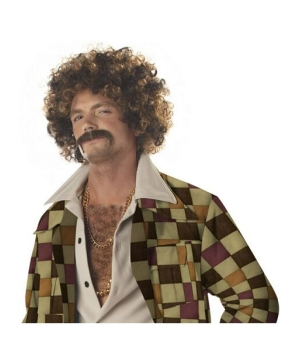 Disco Dirt Bag Wig And Mustache Men Accessory