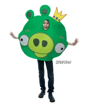 Green King Pig Kids Costume