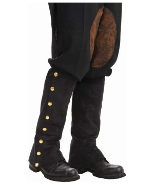 Black Steampunk Adult Boot Covers Spats