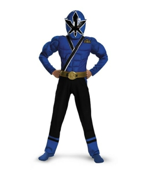 Blue Ranger Samurai Muscle Boys Costume