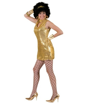 Disco Gold Dress Women Costume
