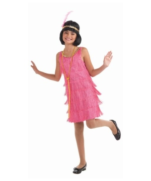 Pink Flapper Girls Costume