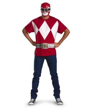 Red Power Ranger Men Costume