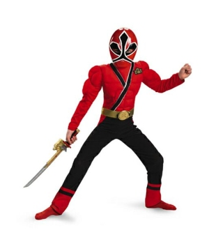 Samurai Red Power Ranger Muscle Kids Costume
