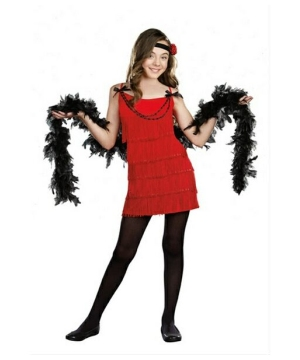 Ruby Red Flapper Girls Costume