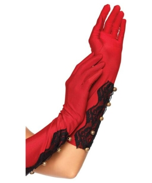Red Satin Gloves Costume Gloves