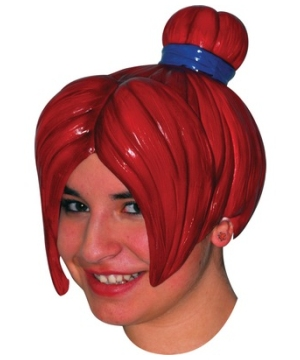 Red Anime Latex Adult Wig