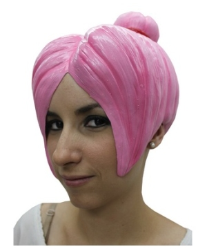 Pink Latex Adult Wig Costume Accessory