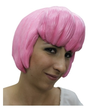 Pink Anime Latex Adult Wig