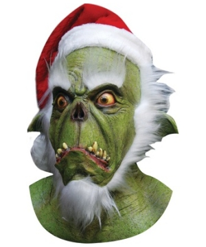 Green Santa Latex Adult Mask