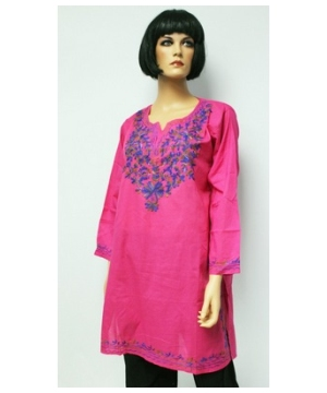 Tri-colored Embroidered Bib Kurta Indian Woman Shirt Cotton Tunic - Indian Top - Long Tunic