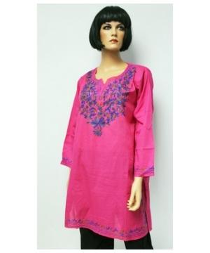 Tri-colored Embroidered Bib Kurta Woman Shirt Cotton Tunic - Long Tunic