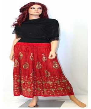 Red Bohemian Peasant Long Skirt