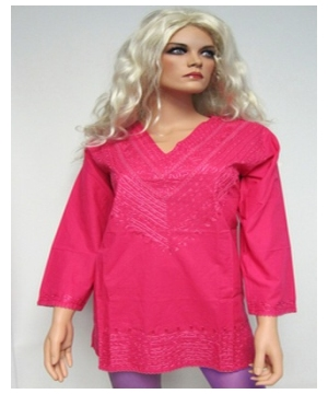Pink Embroidered Bib Kurta - Womens Shirt - Cotton Tunic
