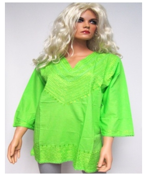 Lime Green Embroidered Bib Kurta - Womens Shirt - Cotton Tunic