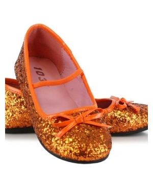 Orange Glitter Kids Shoes