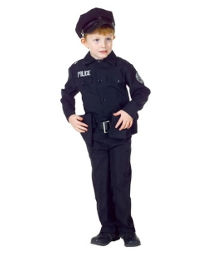 Black Policeman Kid Costume