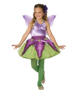 Purple Flower Fairy Girl Costume
