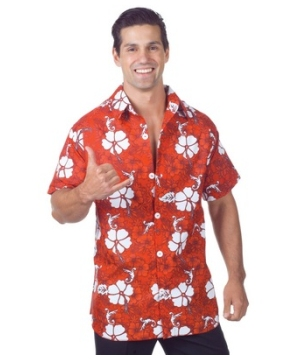 Red Hawaiian Adult Costume