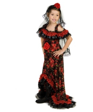 Red Rose Spanish Dancer Kids Costume