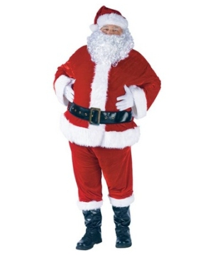 Santa plus Suit Complete Velour Costume