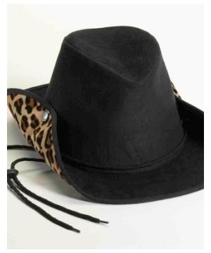 Black Leopard Suede Cowboy Adult Hat