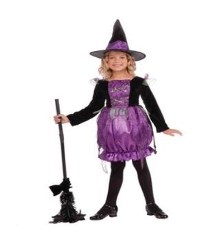 Purple Cauldron Witch Kids Costume