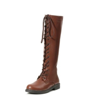 Brown Knee High Lace up Adult Boots