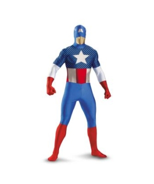 Captain America Bodysuit plus size Mens Costume