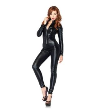 Cat Suit Wet-look Zipper Front Women Costume