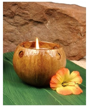 Coconut Tea Light Hawaiian Candle Holder