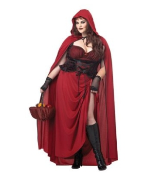 Dark Red Riding Hood plus size Women Costume