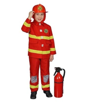 Fire Fighter Kids Costume deluxe Red