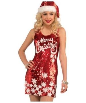 Women Racy Red Merry Christmas Dress