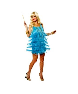 Bold Blue Fringe Party Dress Women Costume