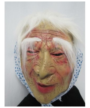 Blue Flower Print Old Lady Adult Mask