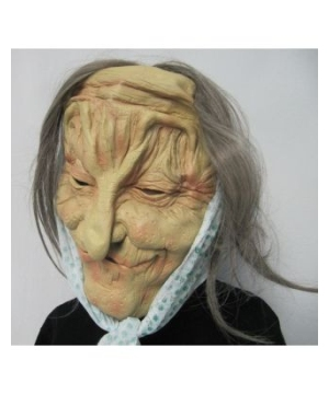 Green Flower Print Old Lady Mask