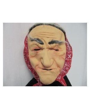 Red Bandanna Old Lady Adult Mask