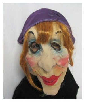 Purple Head Scarf Old Lady Adult Mask