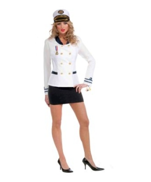Ladies Navy Officer White Jacket Adult Costume