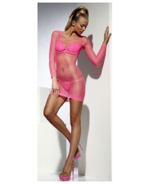 Neon Pink Fishnet Adult Costume