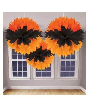 Orange and Black Fluffy Halloween Decoration