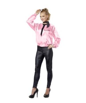 Pink Ladies Satin Jacket Womens Costume