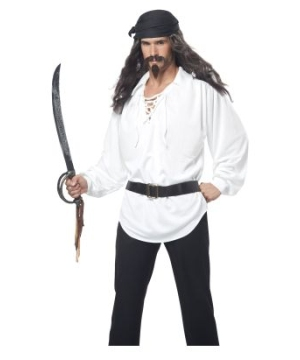 Pirate Adult Wig With Mustache and Chin Patch